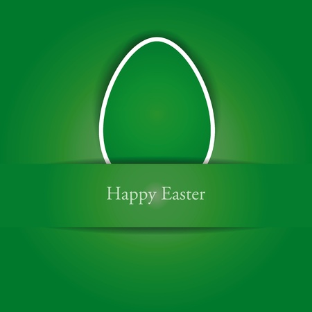 Green and white easter card with egg Vector
