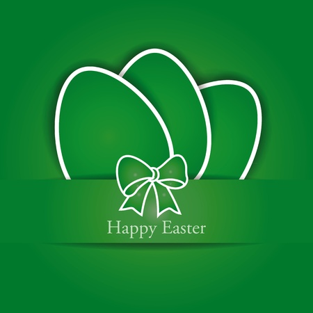 Green and white easter card with eggs Vector