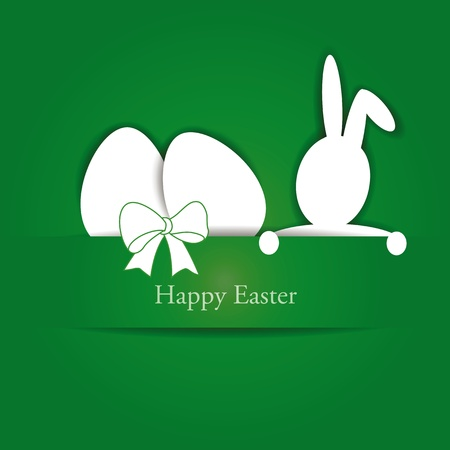 Green and white easter card with eggs and rabbit Vector