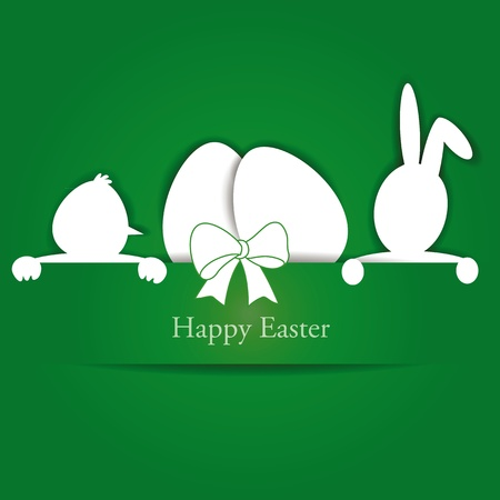 Green and white easter card with eggs, rabbit and chicken Vector