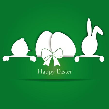 Vert et blanc carte de Pâques avec des oeufs, le lapin et le poulet Illustration