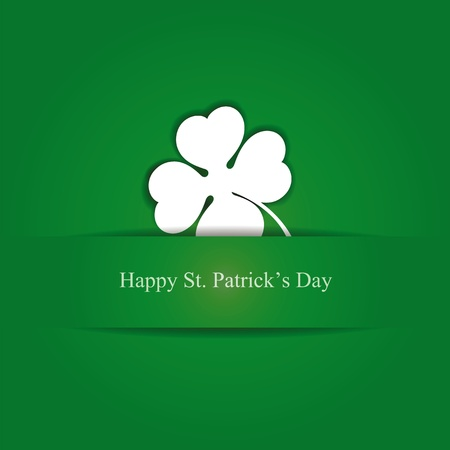 Cute card with four-leaf clover on st. Patricks day Vector