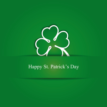 st patrick's day: Cute card with four-leaf clover on st. Patricks day