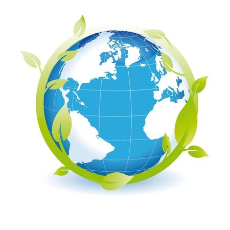 wereldbol groen: Green Globe u kunt gebruiken op Dag van de Aarde Stock Illustratie