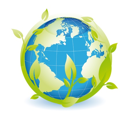 the natural world: Green globe you can use on earth day Illustration