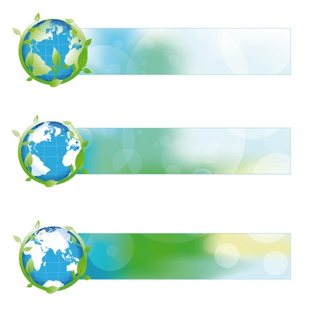 Green, blue, yellow nature banner with green globe Stock Vector - 12293065
