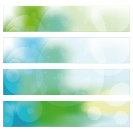 Green, blue and yellow nature banner with circles Vector