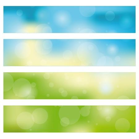 web header: Green, blue, yellow nature banner