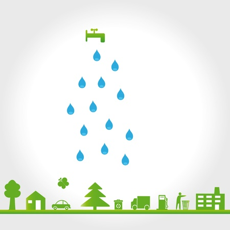 Protect the Earth: Green environment symbols on clean earth Vector