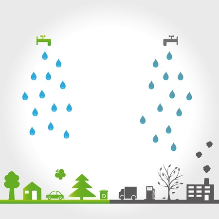 dirty environment: Protect the Earth: environment symbols on clean or dirty earth