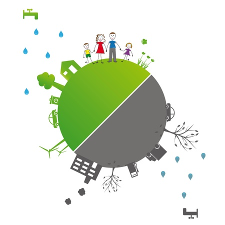Protect the Earth: environment symbols on clean or dirty earth Stock Vector - 12293037