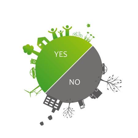 niños reciclando: Proteger a la Tierra: los símbolos del medio ambiente en la tierra limpia o sucia Vectores