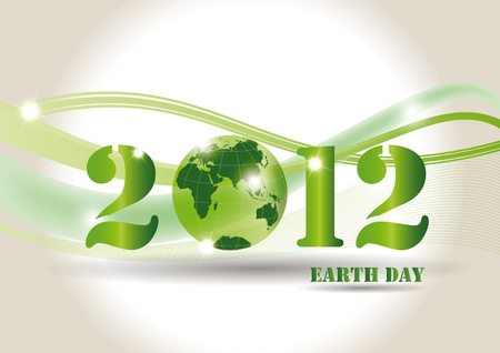 Green background on earth day with globe Vector