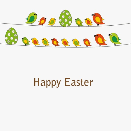 Easter card with eggs with birds Stock Vector - 12293066