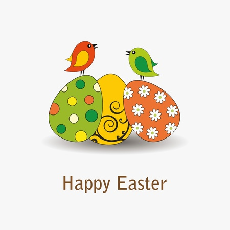 Easter card with eggs with birds Stock Vector - 12293069