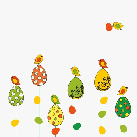 Easter card with eggs with birds Vector