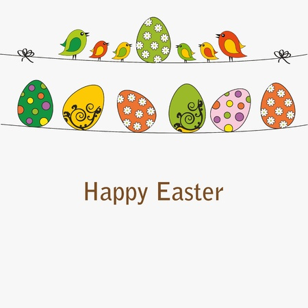 Easter card with eggs with birds Stock Vector - 12293073