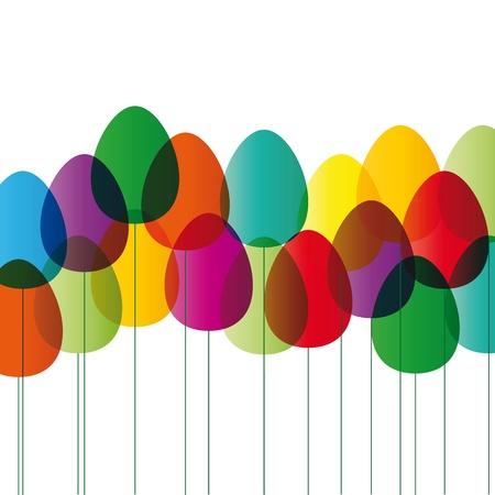 pascuas navide�as: Moderna tarjeta de pascua con huevos de color Vectores