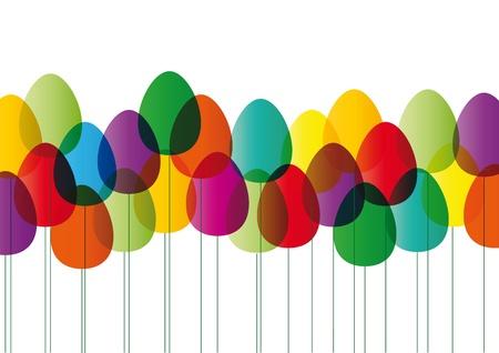 Moderna tarjeta de pascua con huevos de color Ilustración de vector
