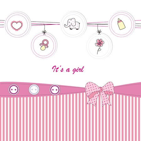 pink elephant: Cute baby background on birthday or shower Illustration