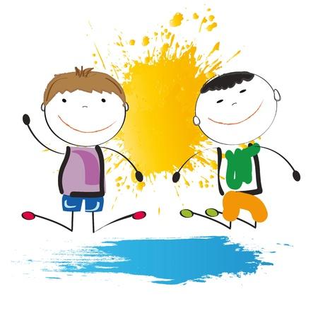 Los niños pequeños y la sonrisa de jugar en exterior