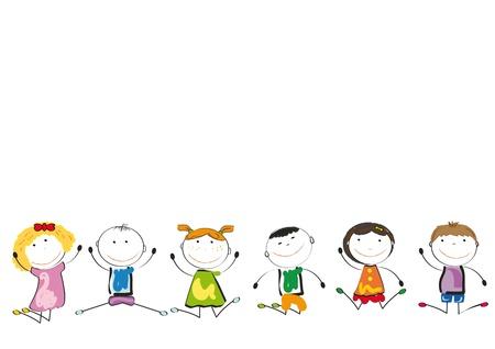 vivero: Los ni�os peque�os y una sonrisa jugando y bailando Vectores