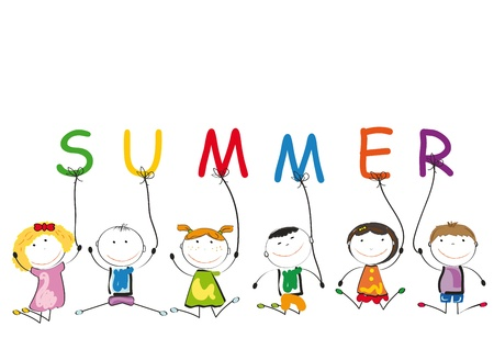 cartoon summer: Small and smile kids play in outside