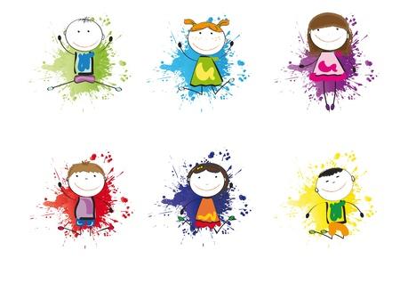 Kleine und L�cheln Kinder spielen und tanzen