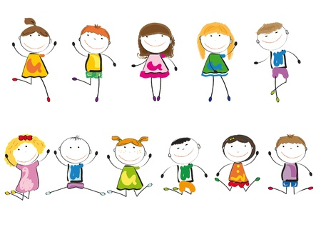 enfants qui dansent: Les petits enfants et le sourire en jouant et en dansant