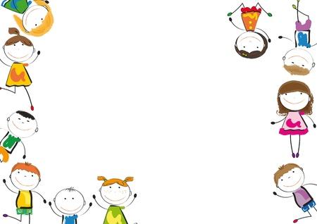 niños bailando: Los niños pequeños y una sonrisa jugando y bailando Vectores