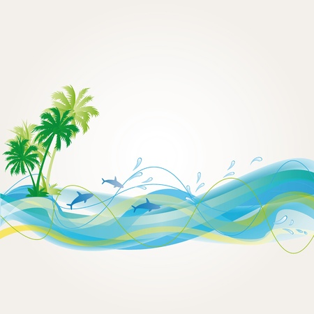 hawaii beach: Palms, Waves and dolphins on exotic background Illustration