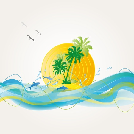 Palms, waves and dolphins on exotic background Vector