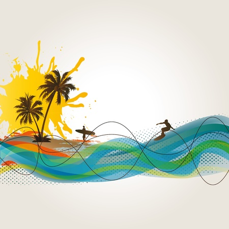 surfer silhouette: Palm, beach and surfer on exotic background