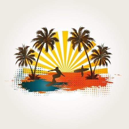 vacancier: Palm, la plage et surfer sur fond exotique Illustration