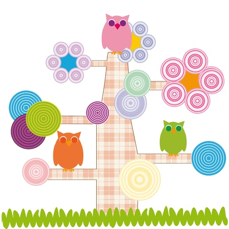Cute kids cartoon with tree and owns Vector
