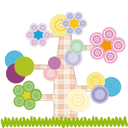 Nette Kinder-Cartoon mit Baum und Blumen