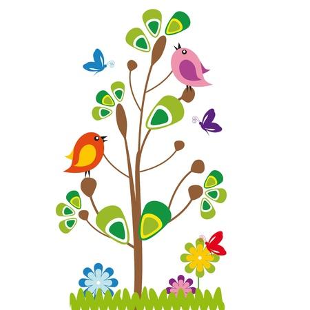 나무와 새 귀여운 아이 만화