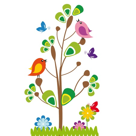 Cute kids cartoon with tree and birds Çizim
