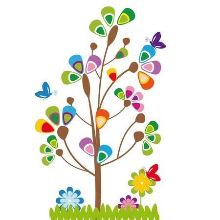 stylized design: Carino cartoni animati per bambini con albero e fiori Vettoriali