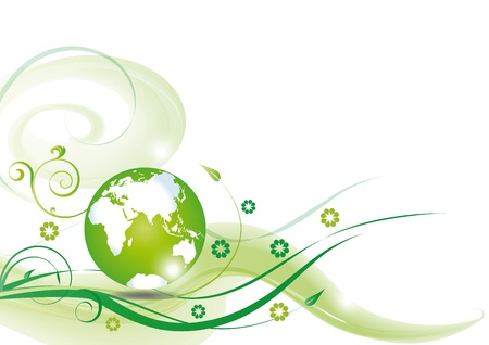 Cute green ecology background with green globe photo