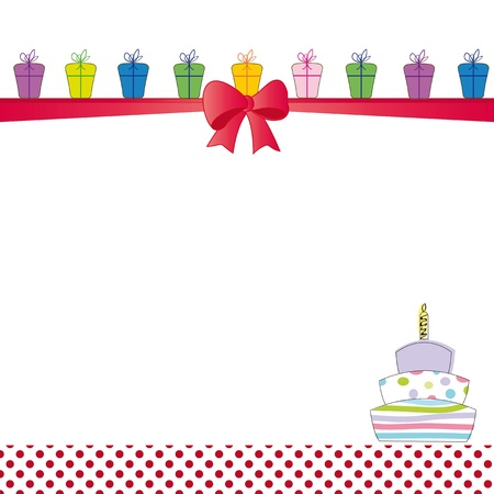 party streamers: Cute color card on special day Illustration