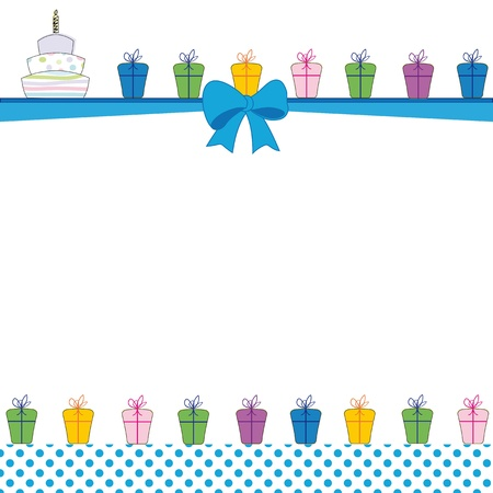 baby birthday party: Cute color card on special day Illustration