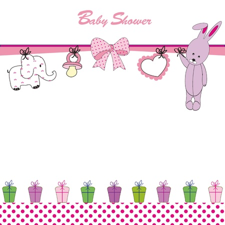 child birth: Cute baby background on birthday or shower Illustration
