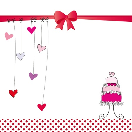 wedding cake: Cute card on valentines day or wedding Illustration