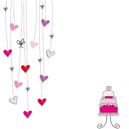pink cake: Cute card on valentines day or wedding Illustration