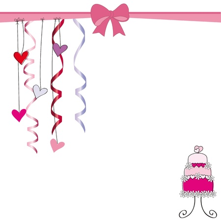 festive occasions: Cute card on valentines day or wedding Illustration