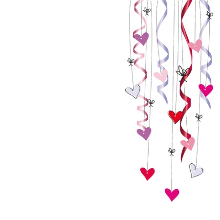streamers: Cute card on valentines day or wedding Illustration