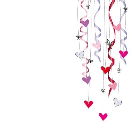 serpentinas: Tarjeta linda el día de San Valentín o de boda