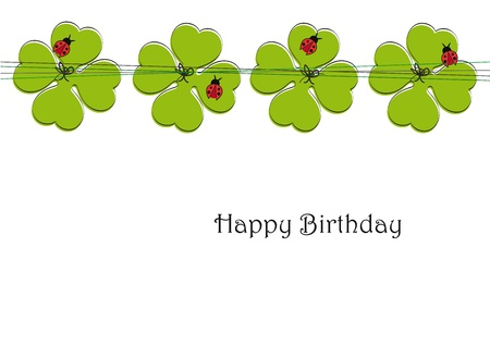 four fourleaf: Cute card on special day, birthday example