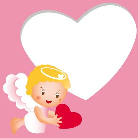 angeles bebe: Ángel pequeño y feliz con el corazón rojo Vectores